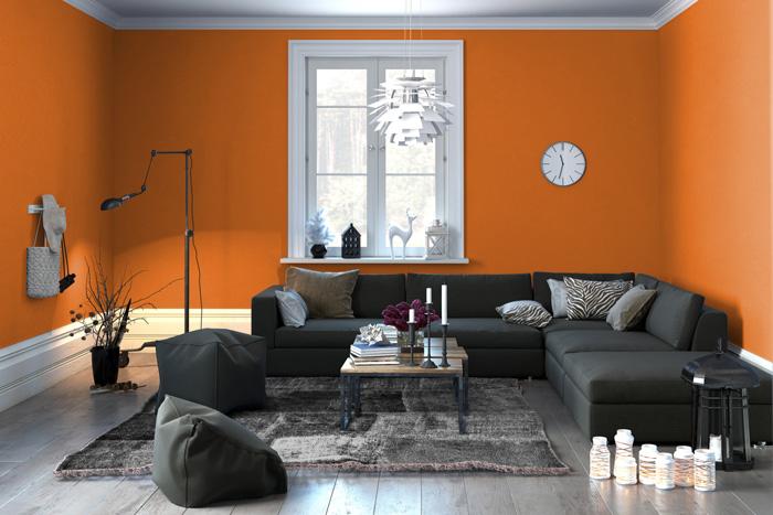 Pareti Grigio Arancione : I migliori arancioni per le pareti del tuo soggiorno