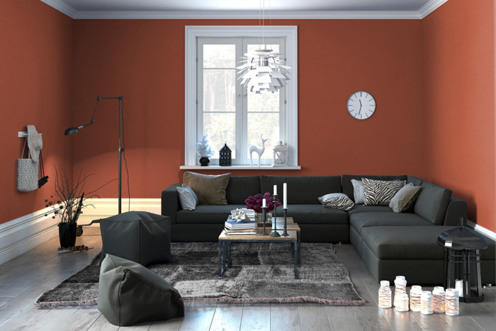 Soggiorno con pareti arancione ruggine per un tocco di originalità ...