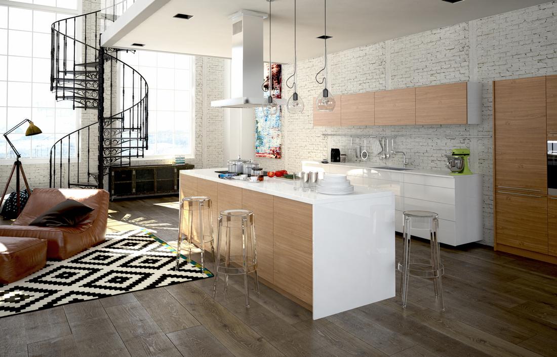 Arredare un ambiente soggiorno cucina prezzi e - Pavimento cucina soggiorno ...